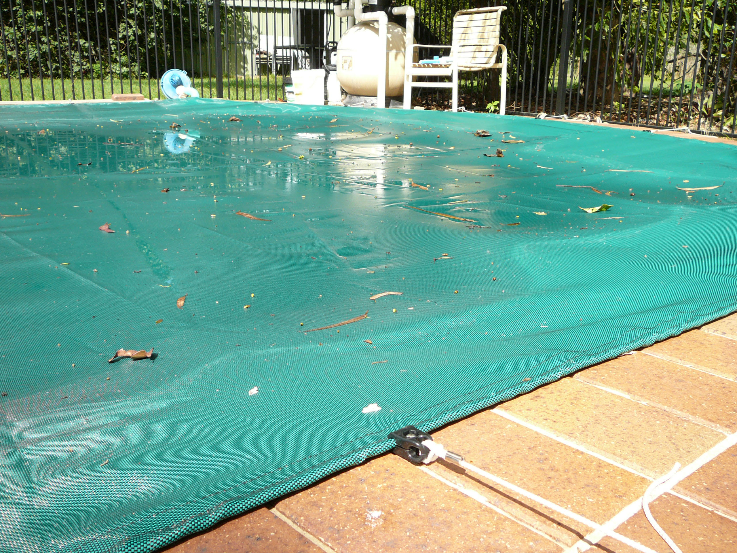 Pool debris covers stop leaves and debris from entering water