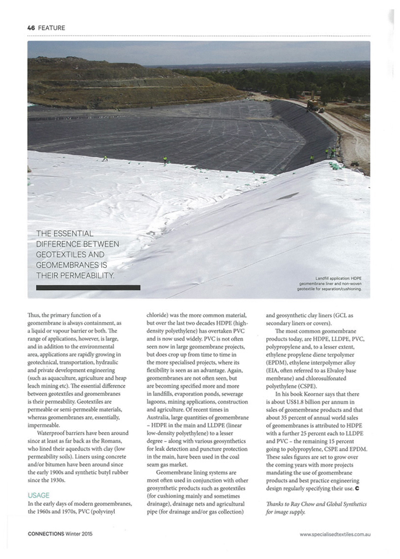 Lance St Hill article on what are geosynthetics in the winter issue of CONNECTIONS