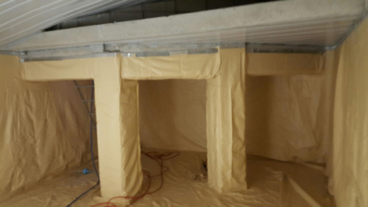 a picture of a empty building cavity converted with a DURATANK liner so that water can be stored