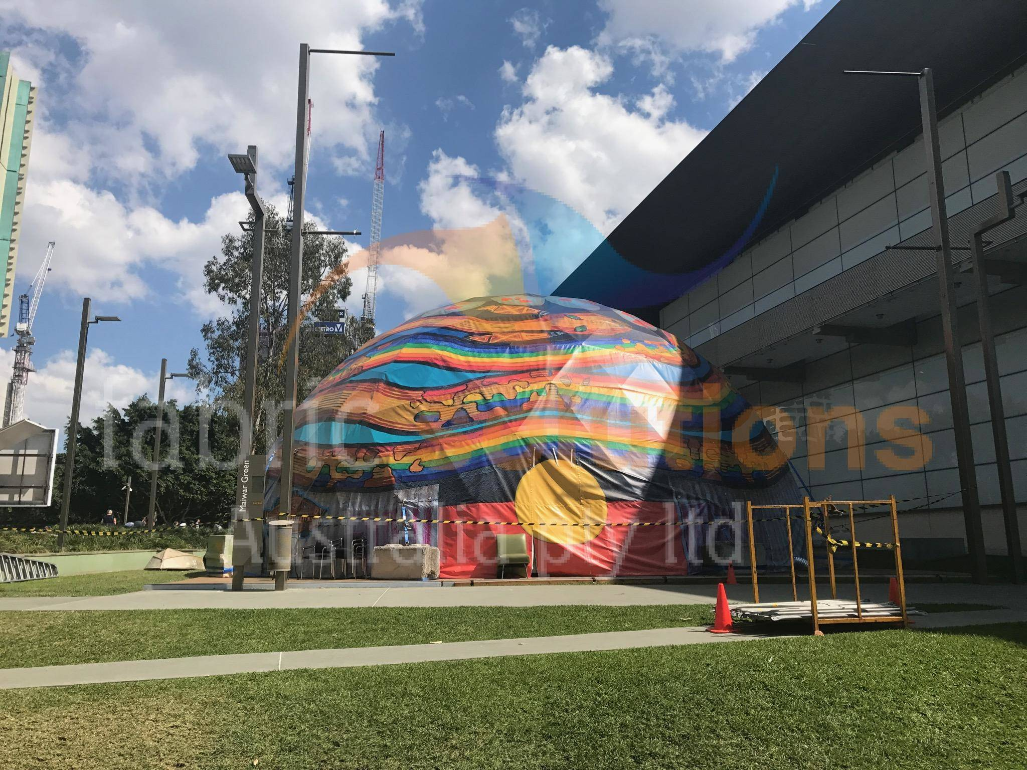 outside the geodesic dome for the Brisbane Writers Festival, 2017