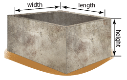 with a rectangular water tank, measure either the internal length, width and height of the tank