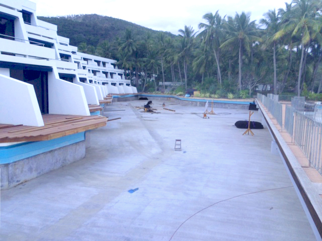 Swimming pool liner renovation at Hayman Island, 2104.