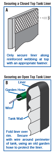water tank liner securing methods