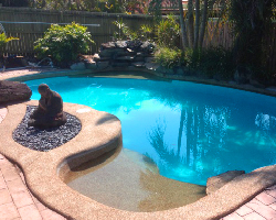 picture of a beautiful looking pool with a new liner installed